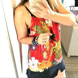 Farm Rio Red Tropical Floral Beaded Linen Tank S